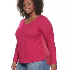 EVRI Hibiscus Cocktail Long Sleeved Top 3X